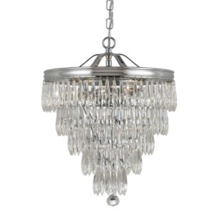 The clear crystal accents that adorn the brass banding compliment this antique inspired series to give the Chloe Collection a fashion forward flare. 3 Light Mini Pendant in Polished Chrome
