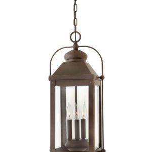 3 Light Outdoor Hanging Lantern in Light Oiled Bronze