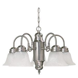 5 Light Chandelier in Matte Nickel