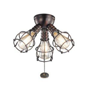 3 Light Fan Light Kit in Oil Brushed Bronze