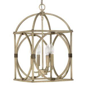 4 Light Foyer Pendant in French Oak