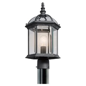 1 Light Outdoor Post Lamp in Black Material