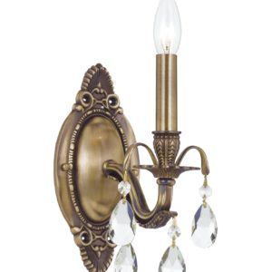 Dawson Collection sconce by Crystorama offers a combination of an Aged Brass finish with Swarocvski Strass crystal. 1 Light Wall Sconce in Antique Brass