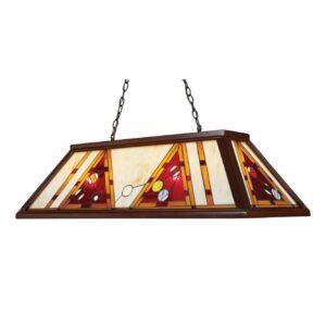 4 Light Billiard Light in Dark Mahogany Wood